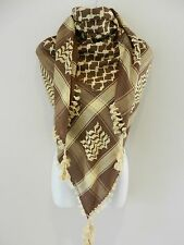 Dark Brown With Gold Yellow Embroided Arab Shemagh Head Scarf Neck Wrap Cottton