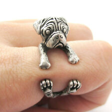 Pug Ring Adjustable Antique Silver Dog and Puppy Lovers Fashion Jewelry AR-1