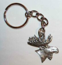MOOSE Head Fine Pewter Keychain Key Chain Ring USA Made