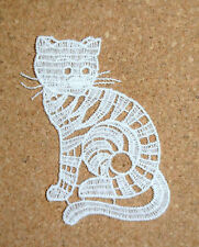 Lace motif - Animals - Cat - applique - sew on trim - craft - cardmaking
