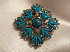 FUNKY COOL Design SOUTHWESTERN Style Silver Base TURQUOISE Inlay Brooch 14BR152