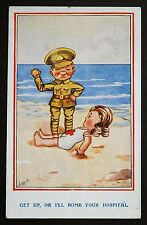 "WW1 Postcard Soldiers Red Cross Nurse ""Bomb Hospital"" Rosyth Dockyard Scotland"