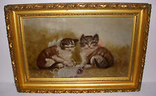 ANTIQUE VICTORIAN OIL ON CANVAS KITTENS / CATS PLAYING WITH YARN FOLK PAINTING