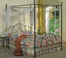 Four Poster Bed Frame Black Metal Canopy Queen Traditional Footboard Headboard