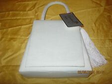 Alfa New Grosgrain purse evening bag Sq. Flap with tassel shoulder strap  Ivory