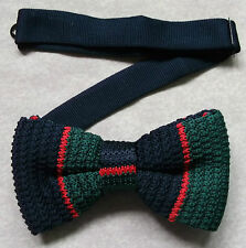 TOP QUALITY KNITTED MENS DICKIE BOW TIE NAVY RED GREEN CLUB STRIPED BOWTIE NEW