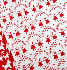 Flower Children Red on White Fabric / quilting vintage doll Christmas Scandi toy