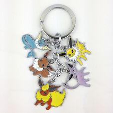 Pokemon Metal Keychain Vaporeon Flareon Eevee Espeon Jolteon Key Chain Keyring