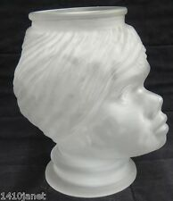 """Figural Nubian African Woman Girl Figural Head Jar Vase Frosted Glass 10"""""""