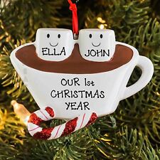 Hot Chocolate With Marshmallow Couple Our First Christmas Personalized Ornament
