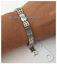Bracelet Homme Bicolore  Acier inoxydable 316L et Plaqué or 18 Carats - Bijoux
