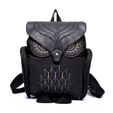 NEW Girl School Book Bag Women's Lovely Black Owl Backpack Shoulder Phone Bag