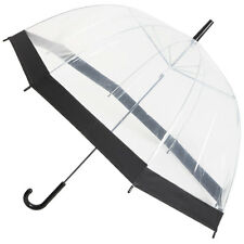 Incognito Ladies Walking Length PVC Dome Shaped Transparent Umbrella Black Trim
