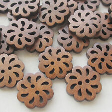 New Hollow Flower Wood Buttons 20mm Sewing Craft Brown Wholesale 40pcs
