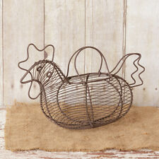 PRIMITIVE COUNTRY METAL WIRE ROOSTER CHICKEN EGG BASKET HOME DECOR