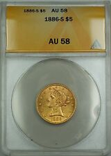 1886-S 5 Dollar $5 Liberty Head Gold Coin ANACS AU-58