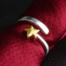 925 Sterling Silver PL & Gold Plated Star Two Tone Open Adjustable Ring Gift