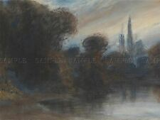 Paul Huet FRENCH Abbey wooded Lake twilight old art painting affiche bb6255a