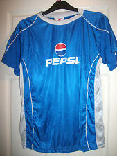 BLUE PEPSI SPORTS  FOOTBALL TOP T SHIRT BLUE LARGE  CHEST 42 44 INCHES
