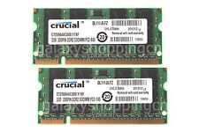 Hot 4GB Crucial 2X 2GB PC2-6400 2RX8 DDR2-800MHz SO-DIMM RAM Laptop Memory B197