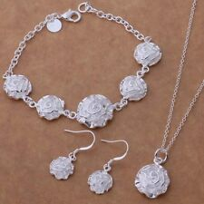 Ladies 925 Sterling Silver Floral Jewellery Set Necklace & Bracelet Earrings
