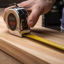 "NEW Tool Shop 25' Chrome Tape Measure 1"" Wide Blade 7' Standout Auto Return Lock"