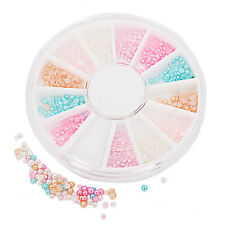 6 Colors Nail Art Half Round Pearl Beads Rhinestones Tips Manicure 3D Decoration