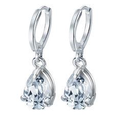 Fashion Woman 925 Silver Pear Cut White Topaz Dangle Drop Hoop Earrings Wedding