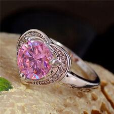 Design Herz Ring 925 Silber Damen Ring Verlobungsring Ring Pink Gr.18 Neu