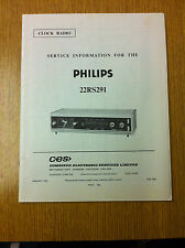 Philips 22RS291Clock - Radio -  Service Manual - Vintage 1970's