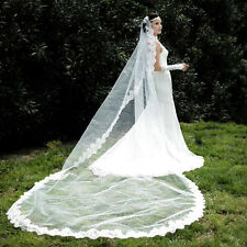 Elegant White/Ivory Classical Chapel Wedding Bridal Veil Lace Edge Long TS006