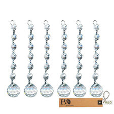5PCS Clear Crystal Beads Chandelier Lamp Hanging Wedding Party Venue Decor
