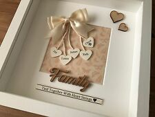 Personalised Box Frame Family Heart Strings Wedding Mothers Day Mum Baby  Gift
