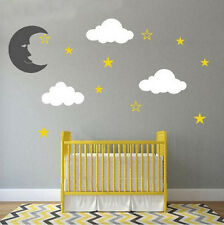 Moon and Stars Wall Decal Theme with Clouds for Kids and Nursery Bedroom Design