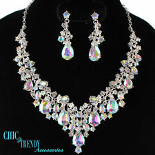 HIGH END AURORA BOREALIS CHUNKY CRYSTAL PROM WEDDING FORMAL NECKLACE JEWELRY SET