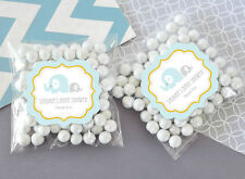 24 Blue Elephant Personalized Clear Candy Bags Baby Shower Favors