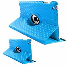 LIGHT BLUE Diamond Fashion Leather 360° Rotating Stand Case Cover For iPad 2/3/4