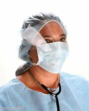 Tie On Face Mask with Anti Fog Eye Shield Blue Dental Surgical Medical 50/box