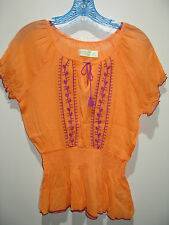 NWOT Dream Out Loud by Selena Gomez Size L Orange Peasant Short Sleeve Top