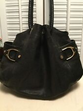 COLE HAAN Leather Satchel Handbag Braided Straps Black w/Gold Tone Hardware