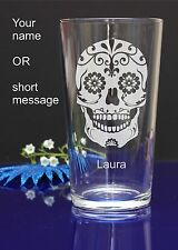 Personalised SUGAR SKULL engraved pint glass for Birthday, Christmas gift 138
