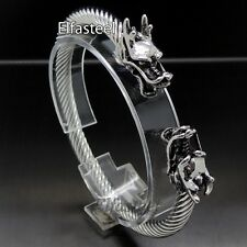 Men Silver Dragon Cable Stainless Steel Cuff Bracelet