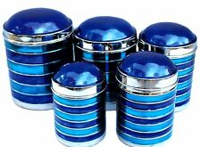 Stainless Steel Shiny Blue and Aqua (Green/Blue) LACQUERED Canisters, Set of 5