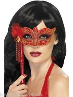 Halloween Devilish Sexy Devil Red Stick Mask Masquarade Masked Ball Fancy Dress