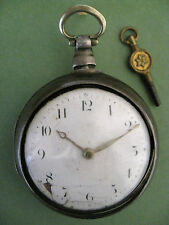 ENGLISH SILVER PAIR CASED VERGE FUSEE POCKET WATCH.SIGNED S ROBERTS LONDON.1814.