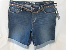 "Ladies ""Apt 9"" Size 16P, Blue, Mid Rise, Belted, Rolled Cuff, Bermuda Shorts"
