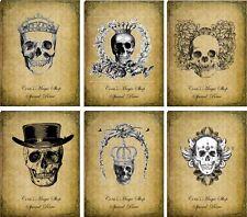 Vintage inspired Halloween assorted skull tea bag envelope party favors set 6