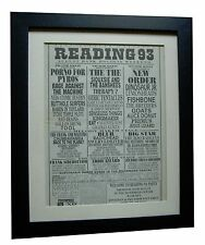 READING FESTIVAL+ORIGINAL 1993+ROCK+POSTER+AD+FRAMED+EXPRESS GLOBAL SHIP+TICKETS