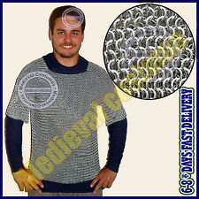 Large Aluminium Chainmail Shirt Butted Chain Mail Haubergeon Medieval Armour