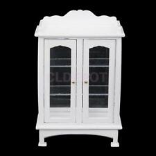 Dolls House Miniature White Display Cabinet Kitchen Living Room Furniture
